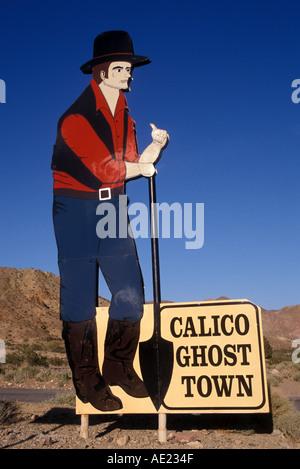 California Calico Ghost Town entrance sign - Stock Photo