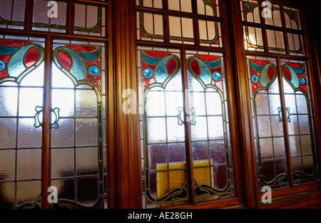 Decorative art nouveau screen in the redundant Grade II* listed Bethania Welsh Baptist Chapel Maesteg South Wales - Stock Photo