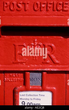 Detail red British pillar post box - Stock Photo