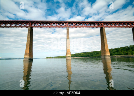 The Forth Rail Bridge viewed from South Queensferry crossing the Firth of Fife. - Stock Photo