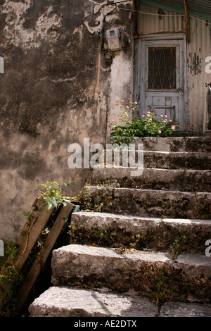 Steps leading up to old cottage Nidri Lefkas Greece - Stock Photo