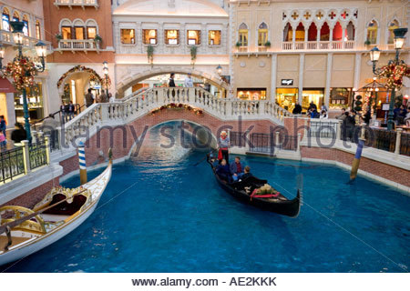 The Grand Canal Gondola Ride at the Venetian Resort Hotel Casino Las Vegas Nevada - Stock Photo
