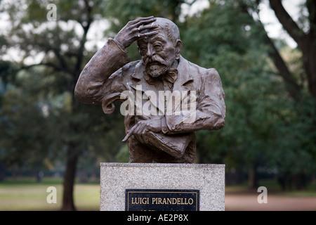 Buenos Aires Statue of Luigi Pirandello in the park Tres de Febrero, along the Avenue Libertador in Palermo neighborhood - Stock Photo