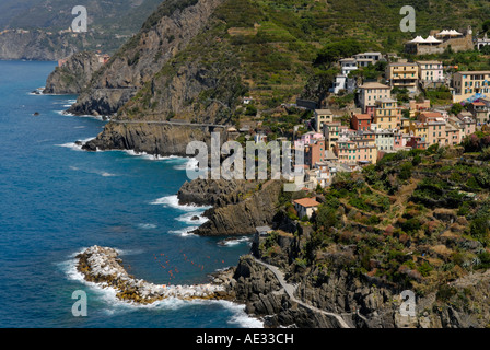 Riomaggiore with its harbor, high angle view from south, Cinque Terre - Stock Photo