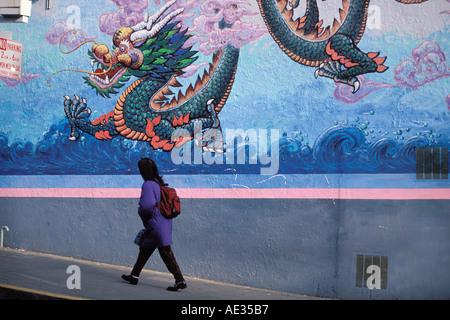 California, San Francisco, Dragon mural, Chinatown - Stock Photo