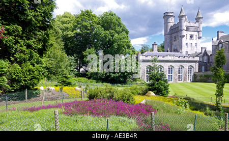 The ballroom of Balmoral Castle with the main tower behind and the herb garden in front - Stock Photo