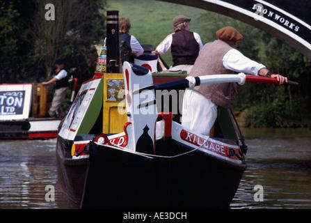 Fellows Morton & Clayton FMC traditional historic Josher narrowboat on the canal registered at Birmingham President - Stock Photo