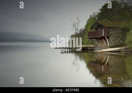 boathouse at early morning on Ullswater near Pooley Bridge in the english lake district - Stock Photo