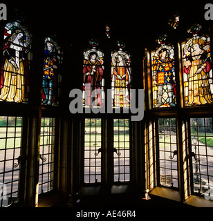 Wales Cardiff Castle Stained Glass windows showing Monarchs - Stock Photo