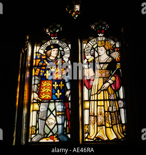 Wales Cardiff Castle Stained Glass window showing King Richard III and Anne Neville - Stock Photo
