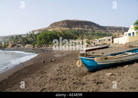 Fishing boats on beach at Cidade Velha, Santiago, Cape Verde Islands, Africa - Stock Photo