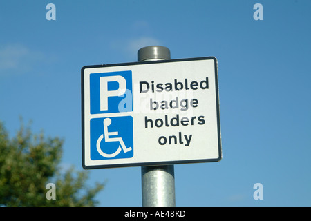 Parking sign for disabled badge holders in the UK - Stock Photo
