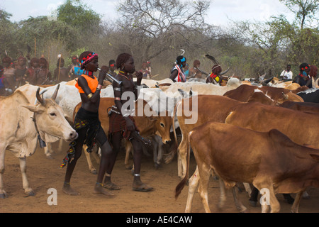 Ritual dancing, Jumping of the Bulls initiation ceremony of the Hamer (Hamar) people, Turmi, Lower Omo Valley, Ethiopia, - Stock Photo