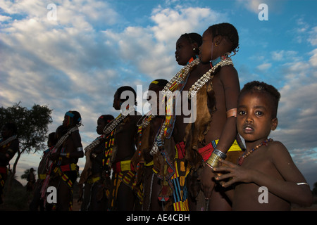 Hamer (Hamar) people at Evangadi dancing (Hamer night dance), Dombo village, Turmi, Lower Omo Valley, Ethiopia, - Stock Photo