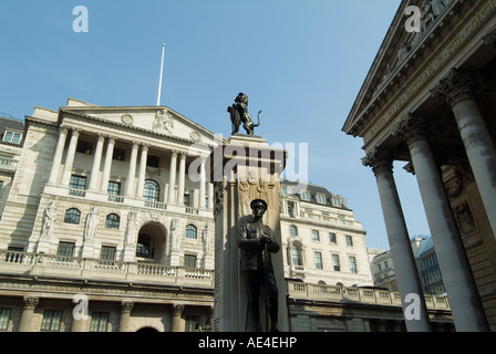 The Bank of England and the Royal Exchange, City of London, London, England, United Kingdom, Europe - Stock Photo