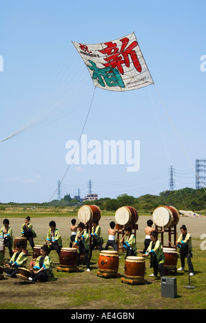 Taiko drumming group, Otako age giant kite flying festival, Sagamihara, Kanagawa prefecture, near Tokyo, Japan, - Stock Photo