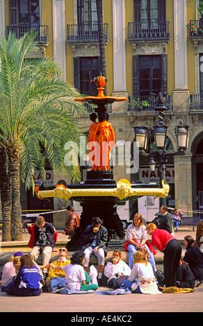 Barcelona Plaze Real palm trees tourists fountain  - Stock Photo