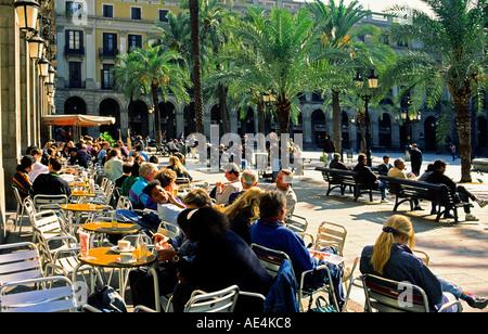 Barcelona Plaze Real palm trees tourists  - Stock Photo