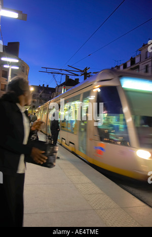 Orleans France new modern tram transit system in city centre at night - Stock Photo