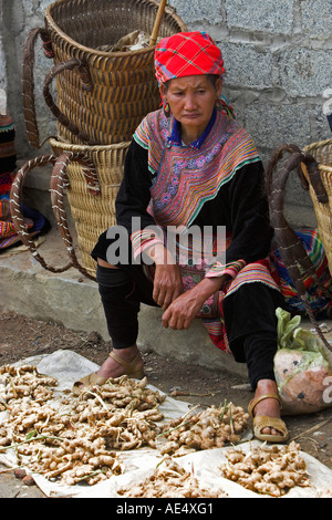 Woman selling root vegetables Bac Ha hilltribe market known for colourful Flower Hmong traders north Vietnam - Stock Photo