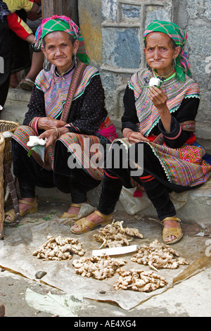 Old woman selling root vegetables Bac Ha hilltribe market known for colourful Flower Hmong traders north Vietnam - Stock Photo