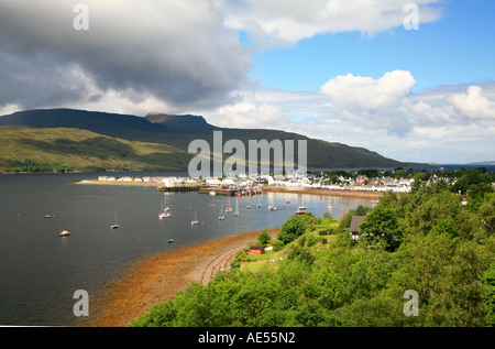 UK Scotland Wester-Ross Highland Loch Broom and fishing port of Ullapool - Stock Photo