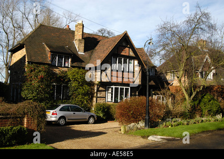 Expensive detached house in Esher, Surrey, England, UK - Stock Photo