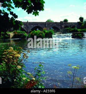 Weir on the River Avon Bathampton near Bath Somerset England - Stock Photo