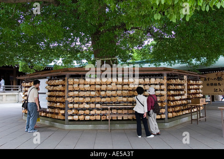 People reading wishes and prayers on wooden votive plaques - ema - hanging on tree at Meiji Jingu shinto shrine - Stock Photo