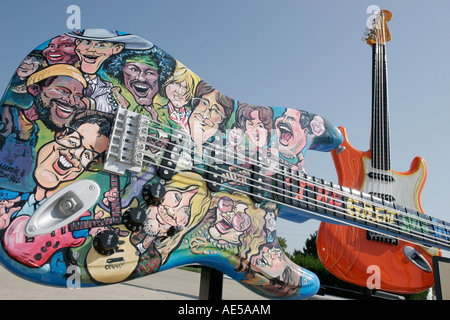 Cleveland Ohio Rock and Roll Hall of Fame guitar Guitarmania art - Stock Photo