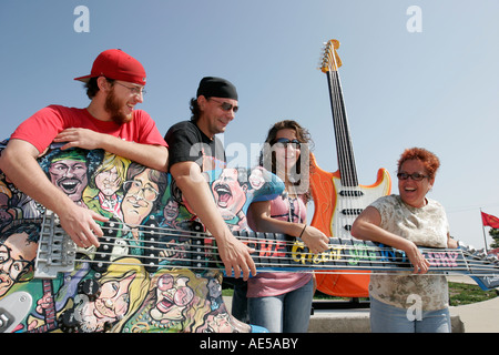Cleveland Ohio Rock and Roll Hall of Fame family giant guitar art Guitarmania - Stock Photo