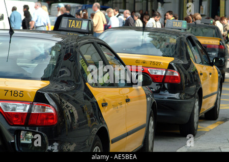 Barcelona Spain Taxis For Hire - Stock Photo