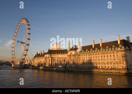 Giant wheel of  London Eye and  classic architecture of  Saatchi Gallery museum on River Thames at dusk London England - Stock Photo
