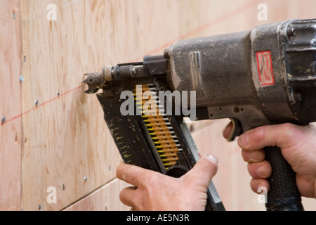 Carpenter using nail gun to shoot nails into plywood siding - Stock Photo