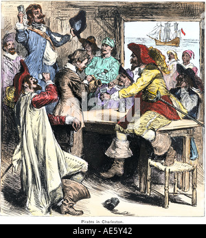 Pirate celebration in Charleston South Carolina in the 1700s. Hand-colored woodcut - Stock Photo