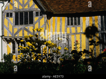 Timber Framed medieval Hall House off the Market Square in Lavenham Oak timbers have been lime washed Suffolk - Stock Photo