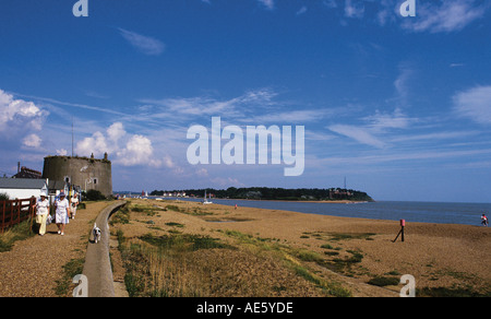 Martello Tower overlooking the mouth of the River Deben Bawdsey Manor on far side Home of Radar pioneering - Stock Photo