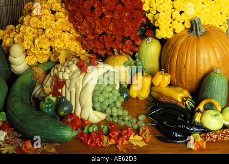 Garden harvest display with cornicopia of homegrown fall produce and flowers Missouri USA - Stock Photo