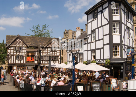 Sinclairs Oyster Bar Old Wellington Inn St Anns Square Manchester UK - Stock Photo