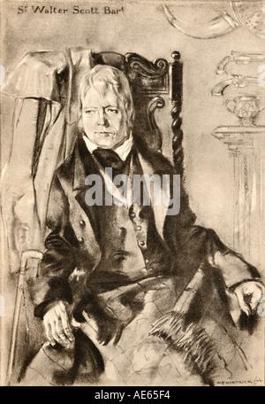 Sir Walter Scott, 1771 - 1832. Scottish novelist, poet, historian and biographer. - Stock Photo
