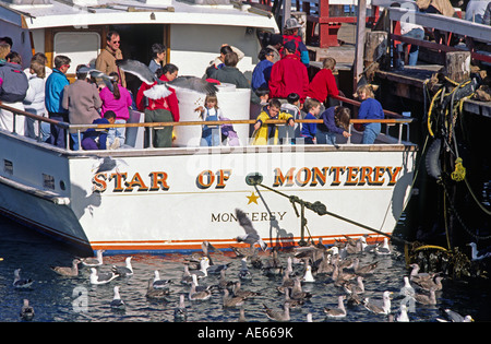 Children feed seagulls family Laridae off the aft deck of the Whale Watching Boat STAR OF MONTEREY MONTEREY CALIFORNIA - Stock Photo