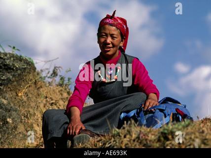 Sherpani woman in traditional dress SIKLIS TREK NEPAL - Stock Photo