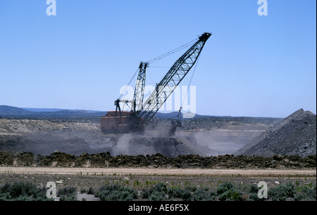 A large open pit coal mine on the Navajo Indian Reservation near Shiprock New Mexico - Stock Photo