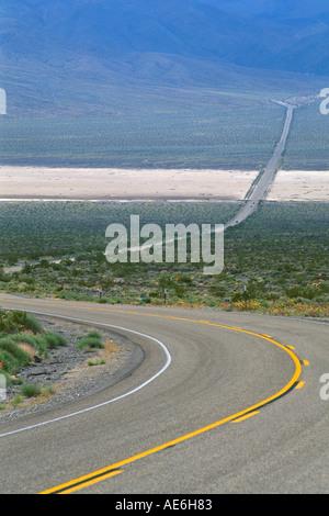Asphalt desert highway 190 through Panamint Valley Death Valley National Park California - Stock Photo
