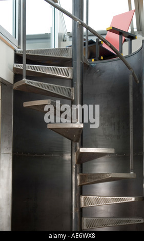 Steel staircase in modern penthouse apartment