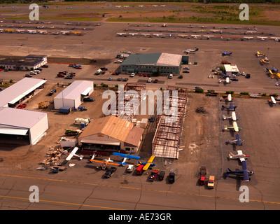 New aircraft hangars under construction at Merrill Field in Anchorage Alaska, USA. - Stock Photo