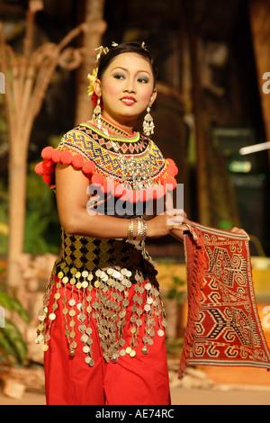 Costumed Performers at the Sarawak Cultural Village Orang Ulu Tribe Dance, Sarawak, Borneo, Malaysia Near Kuching - Stock Photo