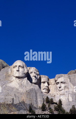 Mount Rushmore National Monument, four U.S. presidents carved in granite rock - Stock Photo