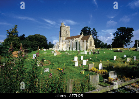 Pretty stone church on a hill outside the small village of Assington near Sudbury West Suffolk - Stock Photo