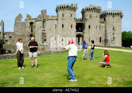 The Gatehouse Range at Raglan Castle Monmouthshire South East Wales UK GB EU originally Norman motte and bailey - Stock Photo